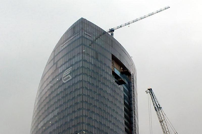 Башня Федерация. Этапы строительства: декабрь 2007 года.