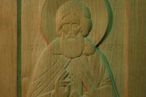 Сергий Радонежский чудотворец — резная икона для слепых