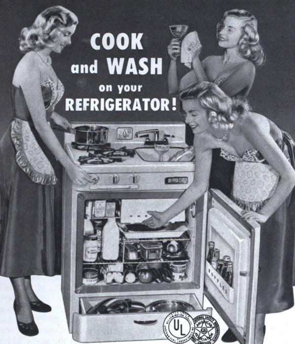Готовить еду и мыть посуду над холодильником — эврика пятидесятых в США