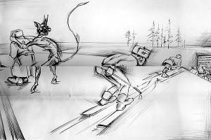 Иллюстрация из стенгазета 9796-й н-ской части, 1988 год.