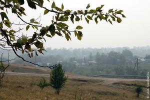 Дым лесных пожаров над городом. Лето 2010 года.