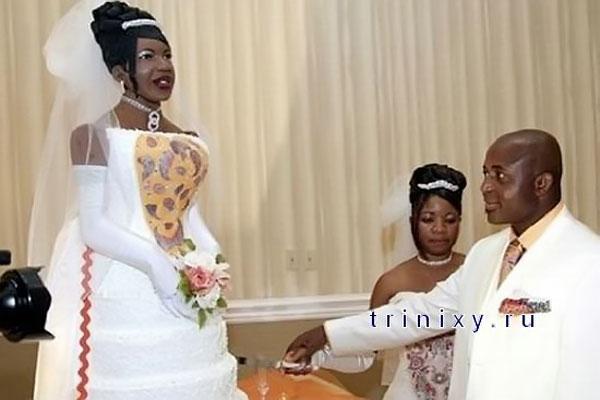 На втором месте — торт-дублер невесты.
