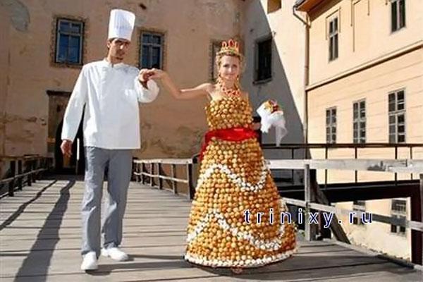Необычное подвенечное платье, выполненное из нескольких тысяч кремовых пирожных.