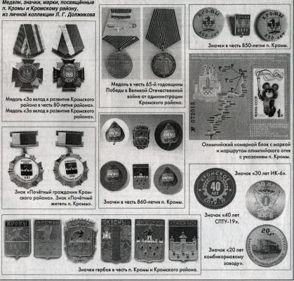 Медали, значки, посвященные п. Кромы и Кромскому району, из личной коллекции Л. Г. Должикова.